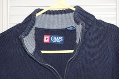 Chaps Men 1/4 Zip Sweater Blue Cotton XXL #Chaps #12Zip