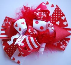 boutique FUNKY FUN VALENTINE Hello Kitty hair bow clip by andjane, $12.99