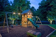 The Best Backyard Playground Ideas For Kids 07 These lights are great!