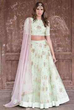 744738e6ace87 Buy Mint green lehenga set by Prathyusha Garimella at Aza Fashions