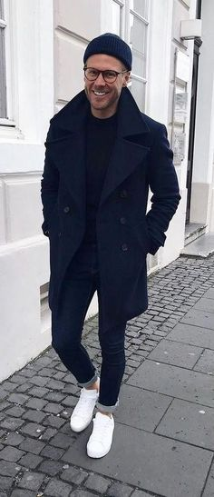 - with a casual fall combo outfit idea with a navy beanie navy overcoat black shirt dark wash denim no show socks white sneakers. Fashion Casual, Men Casual, Mens Fashion, Fashion Trends, Casual Fall, Smart Casual, Fashion Ideas, Style Outfits, Casual Outfits