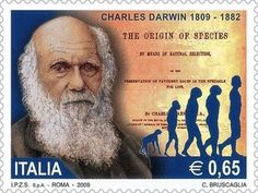 """Cliff Pickover: """"Charles Darwin postage stamp, Italy, 2009."""" :  twitter - 2/18/15 #Darwin #stamp"""