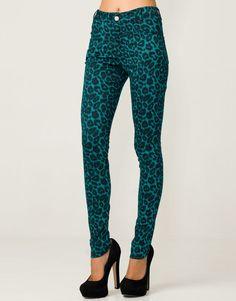 Motel Jordan Skinny Jean in Emerald Leopard