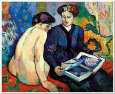 The Prints (1905). Henri Manguin (French, 1874-1949). Oil on canvas. Museo Thyssen-Bornemisza.  Two women seated on a couch or a narrow bed, one dressed, the other naked, look at a book with colour illustrations in an interior lavishly decorated with hangings. In order for the book to be their common focus of attention, they both have to turn their bodies and heads; the torsion is greater in the naked woman. Both figures represent the same model: Jeanne, the artist's wife.