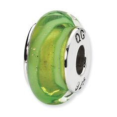 Reflection Beads Sterling Silver Lt. Green Hand-blown Glass Bead QRS1325