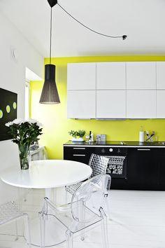 white, black and yellow kitchen