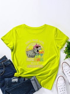Cartoon Dinosaur Print O neck Short Sleeve T Shirt For Women P1832878, Meteor White / US 4