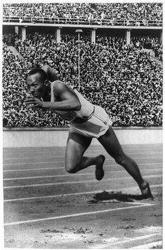 American athlete Jesse Owens at the 1936 Olympics in Berlin. Owens won four gold medals under Hitler's nose, disproving the dictator's nonsensical obsession with 'Aryan' superiority.