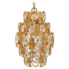 Sciolari Gold Plated Hanging Prism Light, Chandelier or Pendant