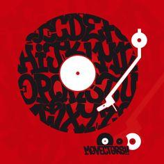 """Cogiendo como base el diseño del """"Abecedario"""" desarrollamos """"Vinilo"""" un diseño para la #musica #dj #graffiti #hiphop #breakdance #disco #vinilo"""
