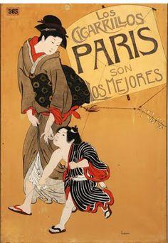 """1902, P.Tera """"Cigarrillos París"""" Museu d'Olot (Olot). El Japonismo, la fascinación por Oriente"""