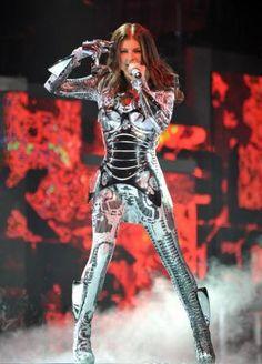 Fergie in a Futuristic, Robot Costume