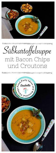 Süßkartoffel Suppe mit Bacon Chips und Croutons. Diese herbstliche Suppe ist Soulfood vom feinsten.
