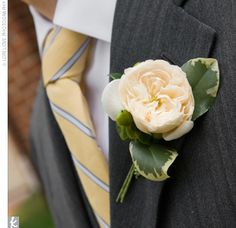 Phil wore a yellow flower on his lapel, as well as a yellow and gray–striped necktie.