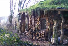 Round house in Poland....A two to three foot overhang (eave) is often recommended when cob or lime putty mortar is used in place of a cement mortar. Typically the logs are not coated with a moisture barrier, but are allowed to breath naturally.