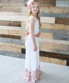 Another great find on #zulily! White & Dusty Rose Ruffle Maxi Dress - Infant, Kids & Tween #zulilyfinds