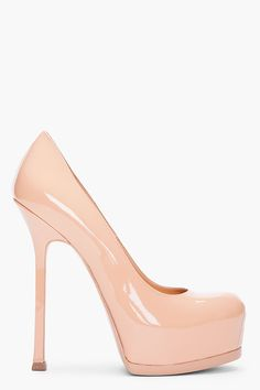 YVES SAINT LAURENT Beige Patent Tribtoo Pumps