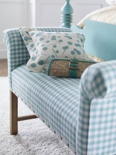 adorable bench in gingham upholstery Decor, Furniture, Room, Blue Rooms, Home, Cottage Decor, Blue Gingham, Upholstery, Blue And White