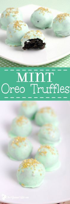Mint Oreo Truffles Recipe - an easy mint chocolate dessert recipe idea, just like your classic Oreo truffles, with added minty flavor for a festive twist. With just 4 ingredients, these smooth, minty, and rich Mint Oreo Truffles could not be easier to make! They'll be the star of the show at your next holiday. So pretty but so easy!