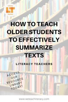 Teach older students to effectively summarize texts in their own words. A simple step-by-step how-to to take students from struggling copy cats to thinkers. Instructional Strategies, Teaching Strategies, Instructional Technology, Teaching Tools, English Reading Skills, Summary Writing, Problem Based Learning, Reading Comprehension Skills, Library Activities