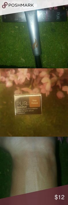 Pur Cosmetics Hydra fluid water serum Foundation P?R Cosmetics' encapsulated water complex delivers Swiss Alps-sourced water to hydrate the skin for lasting radiance while providing silky, medium coverage. Full bottle only used for   a swatch for the picture above. COLOR: DEEP (PROFOND) Pur Minerals Makeup Foundation
