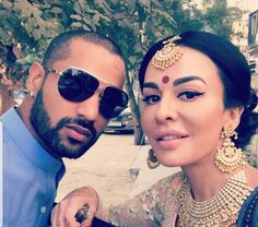 Latest click of Shikhar Dhawan with wife Ayesha - http://ift.tt/1ZZ3e4d
