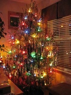 christmas tree with bubble lights and tinsel by anthonylibrarian - Christmas Tree Tinsel