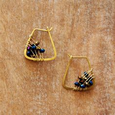 Hammered Brass Hoops with Wire Wrapped Weaved Czech by RawLuxGems, $32.00