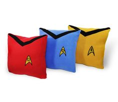 Might have to try making these :) Star Trek Pillow Set 3 piece set red goldblue by YellowBugBoutique, $100.00