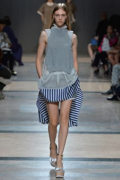 Sacai Spring 2014 Ready-to-Wear Collection Trends: sack-back and trapeze dresses, athletic, floral, bright , coral colors, stripes