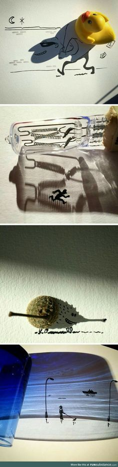 Artist Vincent Bal Turns the Shadows of Everyday Objects into Ingenious Illustrations - street_art_graffitto_graffitti - Kunst Art And Illustration, Street Art, Shadow Art, Shadow Drawing, Art Graphique, Art Plastique, Oeuvre D'art, Creative Art, Creative Things