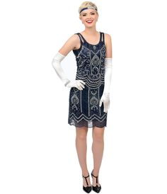 1920s Style Navy Blue & Silver Hand Beaded Ziegfeld Flapper Dress