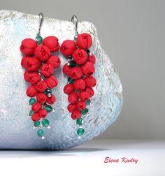 Cluster earrings Long earrings Rose earrings Flower earrings Fancy earrings Fashion earrings