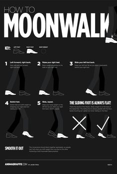 This animated infographic will show you one more time, how to moonwalk like Michael Jackson. The More You Know, Good To Know, Cool Dance Moves, Like Mike, The Jacksons, Useful Life Hacks, Live Action, Just In Case, Fun Facts