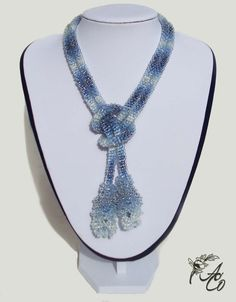 "Jeans style lariat - Length of lariat with tassels 119 cm (47''), Diameter 1 cm (0,4"")"