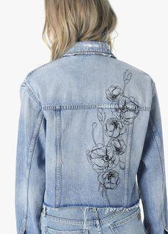 Joe's Jeans The Boyfriend Jacket - Jacinda XS Painted Denim Jacket, Painted Jeans, Painted Clothes, Diy Jeans, Diy Clothing, Custom Clothes, Denim Jacket Embroidery, Embroidered Denim Jacket, Denim Kunst