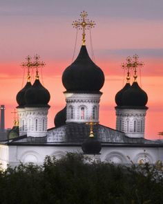 Domes of the Trinity Monastery, Astrakhan, the Kremlin, Russia.