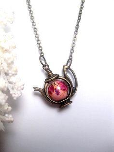 Pink Kimono Teapot Necklace  Porcelain by FashionCrashJewelry