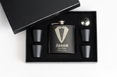 3 Groomsman Flask Set Groomsmen Gift Engraved by EngravingPro