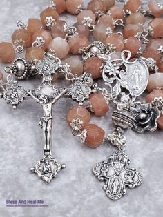 Lady of Grace Miraculous Sacred Heart St Joseph St Christopher Sterling Silver Sunstone Ornate Antique style Rosary Rosary Prayer, Rosary Catholic, Catholic Store, Religious Icons, St Joseph, Heavenly Father, Sacred Heart, Bead Caps, Crucifix