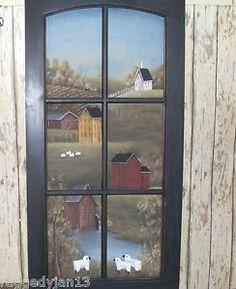 Saltbox house painting scenes   ... Painted Primitive Folk Art Saltbox Farm Scene Home Decor Rjpe   eBay
