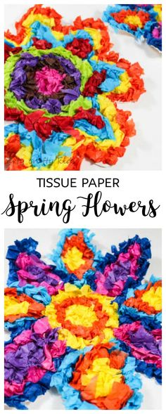 Arty Crafty Kids | Craft | Colourful Tissue Paper Flower Kids Craft #springcraftsforkids #craftsforkids #kidscrafts