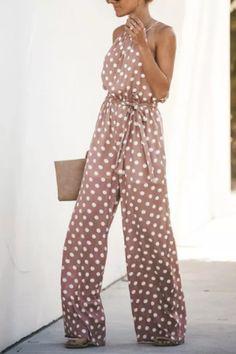 Oversized Elegant Hot Jumpsuit Women Fashion Streetwear Dot Loose Skinny Jump Suits for Women O-neck Backless Long Pant Backless Jumpsuit, Pink Jumpsuit, Plus Size Jumpsuit, Jumpsuit Outfit, Long Pants, Jumpsuits For Women, Streetwear Fashion, Street Wear, Elegant