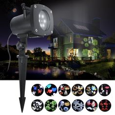ANTSIR Rotating Landscape Projection LED Light, 12 PCS Switchable Lens Snowflake Spotlight Projector for Valentine's Day, Holiday,Birthday, Wedding, Party, Kids Room,New Year