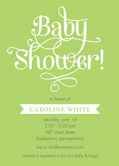 Personalized Green Baby Shower Invitations