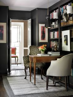 J. Healey Interiors. Black office.