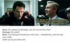 I am waiting for the moment when they meet in the MCU so I can die in peace. Sherlock and John, Dr. Strange and Agent Ross Martin Freeman, Marvel Funny, Marvel Memes, Marvel Avengers, Benedict Cumberbatch, Sherlock Bbc, Sherlock Fandom, Johnlock, Fandom Crossover