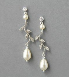 Bridal earrings, rhinestone earrings, vintage style earrings, wedding earrings, wedding jewelry - Style 453- Made to Order. $42.00, via Etsy.