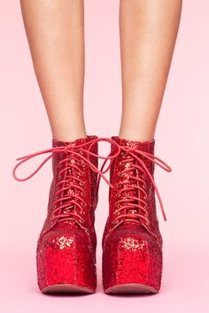 Theres no place like home.... click those heels girl! These Lits Platform Boots in red glitter are so fun .. especially for an Oz lover like me :) $162 @nastygal ... How would you rock these? I am totally thinking denim cut off shorts & a white tailored, crisp button down. #style #fashion #shoes