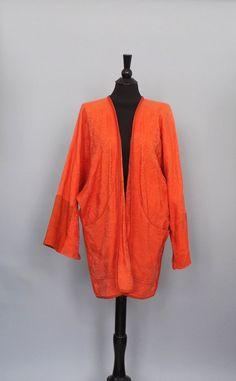 Vintage 1970s Orange Kimono Jacket Cardigan Beach Cover gypsy rocker Boho Hippie CAFTAN Robe Tunic Festival Nomad Kimono SoCal Woven Jacket